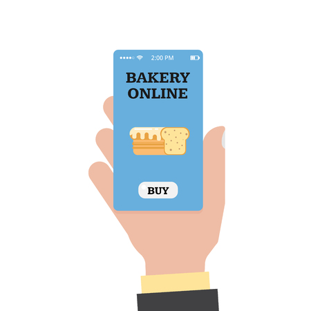 Online shopping in the bakery. Online bakery. Store and hand with a smartphone. Smartphone app. Vector flat.