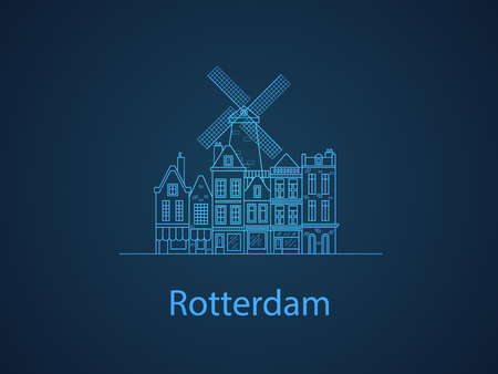 The city of Rotterdam. European houses. Different sizes and constructions. Old houses of Europe Flat vector in lines. Stock Illustratie