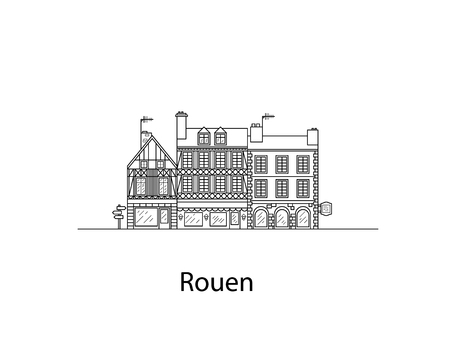 Cities of Normandy, Rouen. European houses. Different sizes and constructions. Old houses of Europe Flat vector in lines.