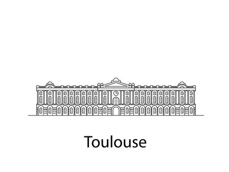 Tolosa è la Francia. Icona della città in linee. Il vettore nell'appartamento.