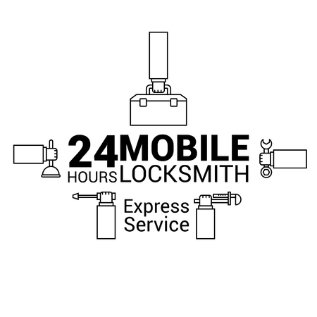 Mobile locksmith. Logo in vector. In the lines. Ilustrace