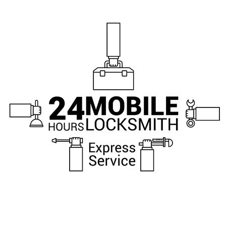 Mobile locksmith. Logo in vector. In the lines. Illustration