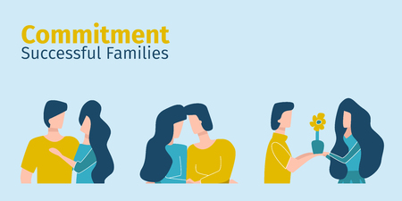 Successful families show devotion to each other. Commitment in vector flat.