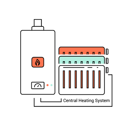 The boiler and the radiators connected through the pipes. Vector icon in a line. 矢量图像