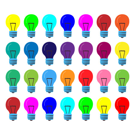 Many lamps of the same size in different colors. Cartoon vector. Concept of successful creative ideas. Illustration