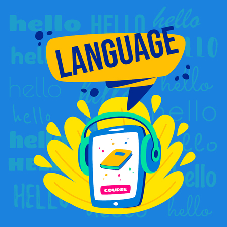Learning languages concept. Language classes. On the phone, the choice of language online. With headphones you can listen.
