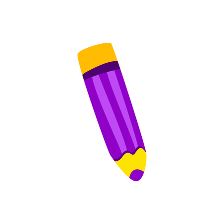 Color pencil. Lilac cartoon vector.