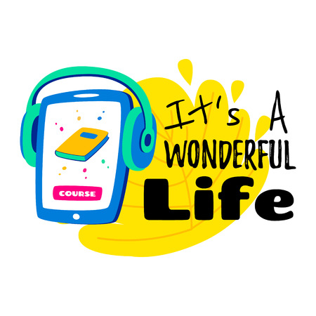 Learning languages concept. Language classes. On the phone, the choice of language online. With headphones you can listen. Written - its wonderful life. Illusztráció