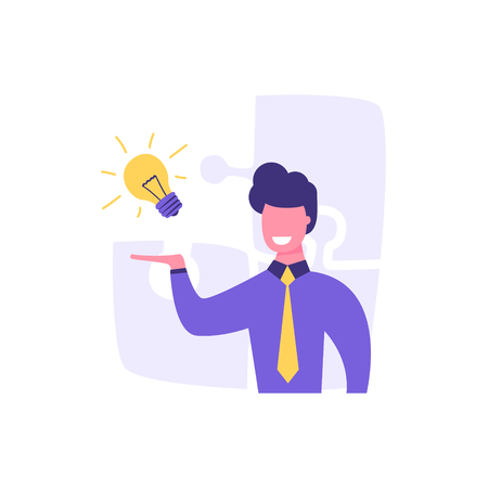 Businessman holds light bulb in hand. The symbol of the problem or task. The concept of a solved problem. I have an idea. Çizim