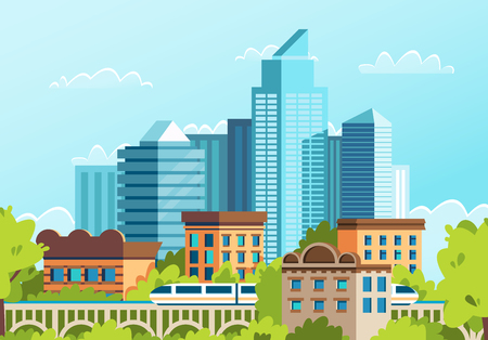 Windows of houses in a big city. Roofs of houses in the metropolis. Cartoon vector.