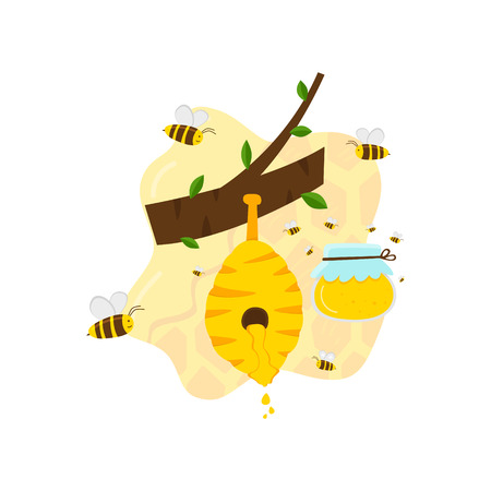 One can with yellow honey, bees fly around. Natural honey in the hive hangs on the tree. Honeycomb and bees wax product. White background. Cartoon vector. Cartoon vector.