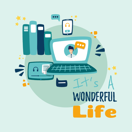 Mobile and web products in the HR technology space Wonderful life is written. Ilustração