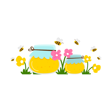 Two jars of honey in a flowering meadow, bees flying around. White background. Cartoon vector.