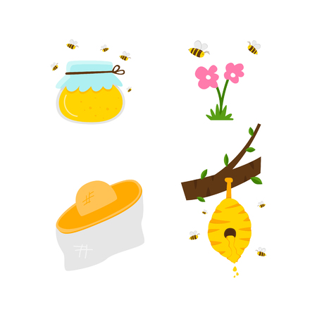 Straw hat from bees. One can with yellow honey, bees fly around. Natural honey in the hive hangs on the tree. Honeycomb and bees wax product. White background. Flowers in the meadow, bees flying around. Cartoon vector. Set.