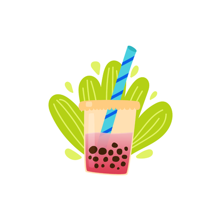 Bubble tea with milk. Tapioca pearls. Cartoon vector.