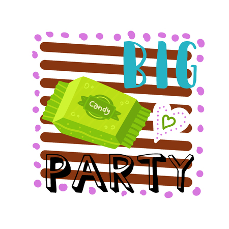 Candy in a green wrapper. Against the background of chocolate horizontal stripes. White heart. Written by big party. Cartoon vector.