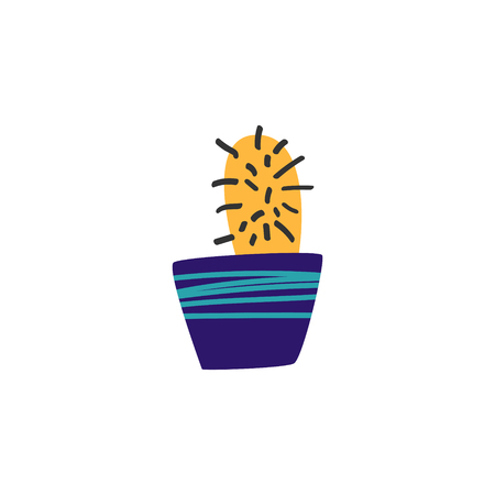 Yellow cactus in a blue pot. Drawn in a cartoon style. Illustration