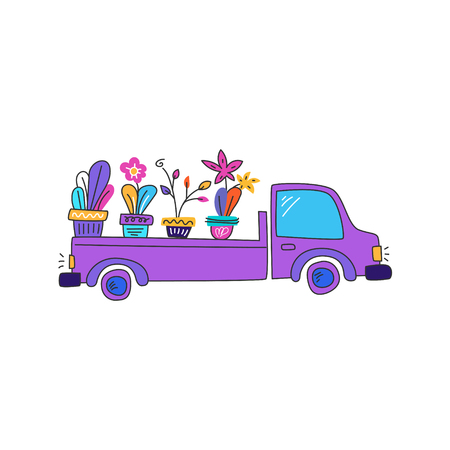 Car with plants. Trendy aesthetic gardening. Concept plant delivery. Drawn in a cartoon style. Illustration