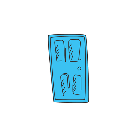 Door. Ideal for any home or office. Drawn in a cartoon style.