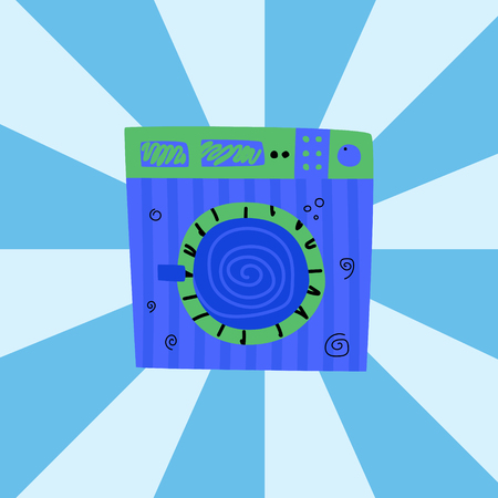 Blue washing machine. Modern home. Concept laundry room. Cartoon vector.