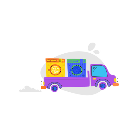 The car carries washing machines. Concept laundry room. Cartoon vector.