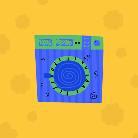 Blue washing machine on a yellow background. Laundry rooms built together with other utilities  Concept laundry room. Cartoon vector.