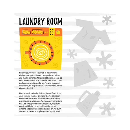 Yellow washing machine. Laundry rooms  include storage cabinets. There is a place for text. Concept laundry room. Cartoon vector.