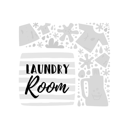 Laundry rooms  include countertops for folding clothes. There is a place for text. Concept laundry room. Cartoon vector. Illusztráció