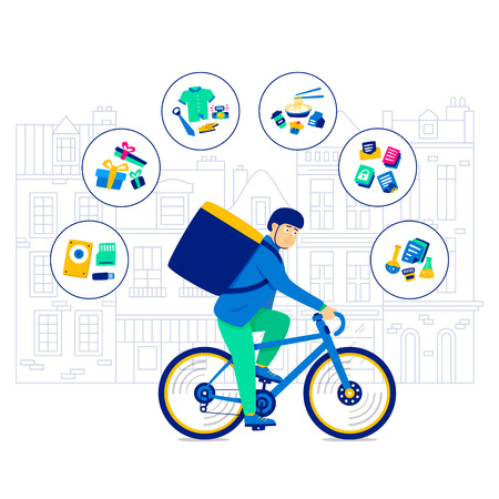 Transportation Bicycle Clothing and Products for Photo Shoots. Speed Delivery Biking Postal Medical Samples. Bicycle carriers hired deliver items nutrition. Bicycle Lifestyle. Biking Service.