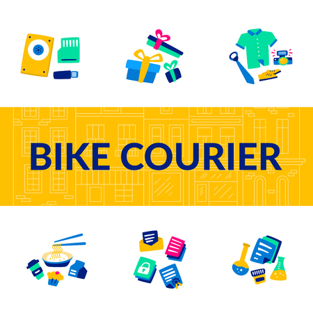 Bike Courier. Bicycle lifestyle. Biking Service. Transportation Digital Files Flash drives or hard drives. Speed Delivery Biking Postal Legal Financial and other Confidential Documents. Stock Illustratie
