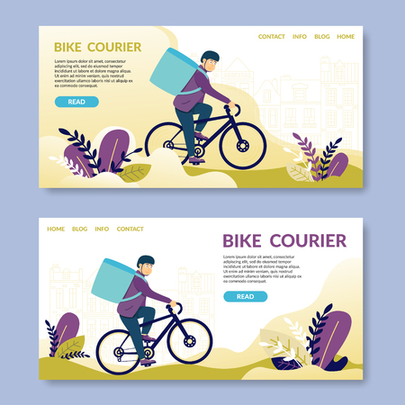 Bike Courier.Read. Happy young man electric bike. Bicycle messengers found central business districts of metropolitan areas. Bicycle travel less subject to unexpected holdups city traffic jams.