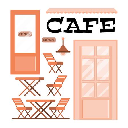 Flat Vector Illustration Wooden Interior Elements an Urban Cafe. Graphic retro building. Cozy family restaurant. summer terrace restaurant. lettering sign.