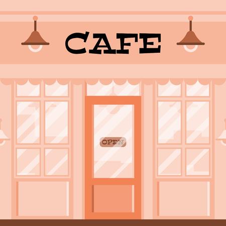 Pink cafe facade. Restaurant window case. Vintage cafe illustration.  イラスト・ベクター素材