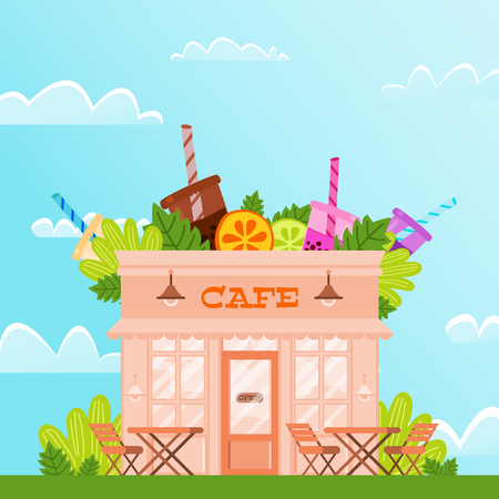 City Cafe Against Blue Sky And White Clouds. Vector Illustration On Color Background. summer terrace cafes around greenery. On roof institution juicy fruits and cocktails. Çizim