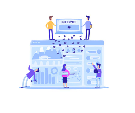Flat Banner Everyday Inner Side Social Networks. Vector Illustration Big Computer Skreen on White Background. Young Boys and Girls are Working to Improve Website and Get Likes Users. 일러스트
