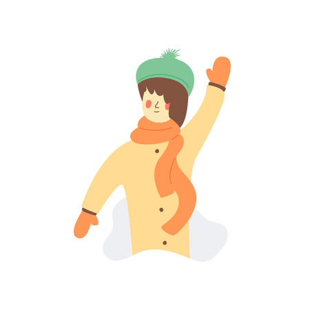 Flat Illustration Girl Said Hello to You. Have Fun.  Girl in Turquoise Hat in Beige Coat and Orange Scarf with Gloves. Cartoon Vector on White Background. Nice Happy Free Time in Winter.