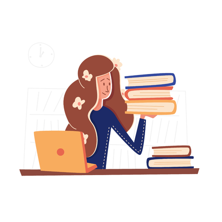 Flat Banner Girl With Books Internship in New Job.  Vector Illustration on White Background with Book Shelfs. Intern Studies Information about her New Company with her Desk on Laptop.
