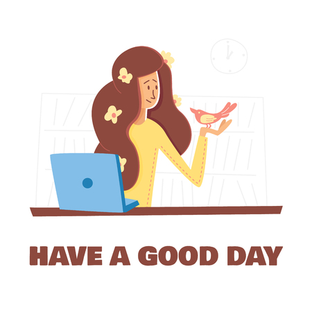 Flat Illustration Wish  Postcard  Have a Good Day. Vector Banner on White Background with Book Shelfs. Girl with Flowers in her Hair  Sitting at  Laptop and Holding  Pink Bird in her Hands.