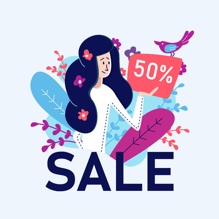 Flat Banner Schnäppchenverkauf am Wochenende 50 Prozent. Junge große Frau in der weißen Jacke mit dem blauen Haar, das Flyer mit Rabatt hält. Schöner Singvogel kündigt Rabatt auf Blumenornament an.