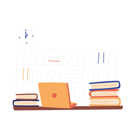Flat Illustration Job Vacancy with Free Training. Vector Cartoon on White Background with Watch and Book Shelfs. Laptop and Books Full  Information are on  Table and Waiting for Hardworking Intern.