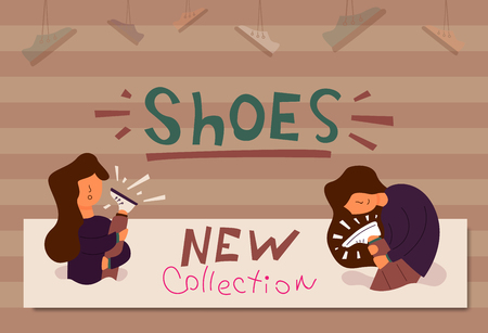 Vector Flat Banner new collection of shoes to the store with promotions promo a large selection of different shoes for women. The new collection of the girl holds in hands new fashionable white boots Vettoriali