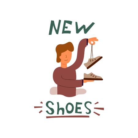 Vector Flat Banner guy holds in his hands new brown shoes of a famous brand. Rejoices very good shopping WoW large selection of mens shoes. A man with brown hair buys new shoes known firm. Çizim