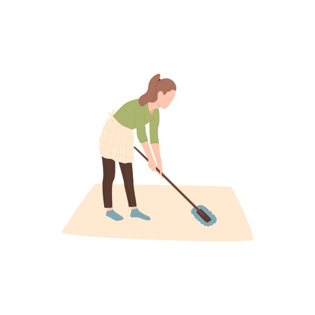 The girl is engaged in cleaning the house or room. Keeping the room clean. Wiping dust and dirt. The woman washes the floor with a mop.