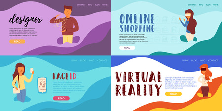 Designer online shopping virtual reality is a new technology and functions created by artificial intelligence machine learning girl wore glasses of additional reality. Çizim