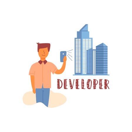 Vector flat banner developer lettering young capable engineer prodigy. Use a smartphone to design buildings of a business center in high-rise buildings. New generation and technologies of the future