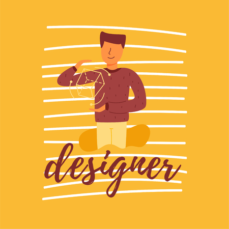 A vector flat banner lettering designer young and capable guy child prodigy talented child. They use artificial intelligence and machine learning to create mobile applications and additional reality. Illustration