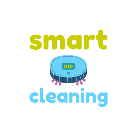 New technologies, artificial intelligence. Robot vacuum cleaner ultra thin design. Compact and reliable, it has a suction power and a lithium ion battery. Imagens - 123970071