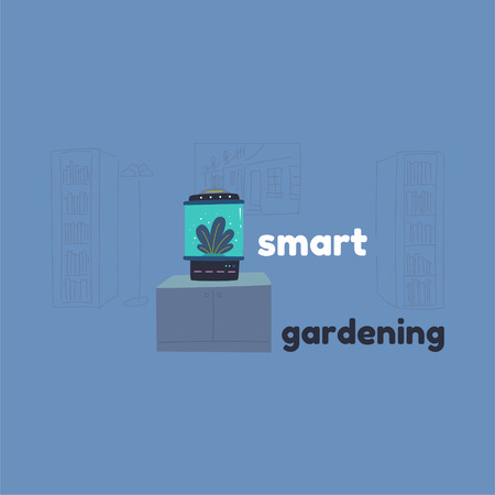 Home assistant and a robot with artificial intelligence. Smart greenhouse for seedlings. Growing indoor plants in an incubator. The technique analyzes plants and automatically fertilizes and waters.
