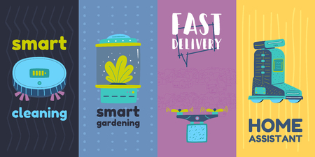 Artificial intelligence and machine learning. Robot vacuum cleaner drone or quadrocopter. Smart greenhouse and robot helper home Droid. Ilustração