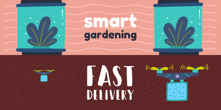 Home assistant and a robot with artificial intelligence. Smart greenhouse for seedlings. Growing indoor plants in an incubator. Quadcopter with propeller blades.